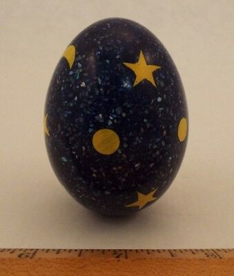 Hand Made Resin Egg Blue with Sparkles, Stars and Moons Philippines 2 1/2 inches