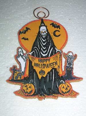 HAPPY HALLOWEEN SKELETON, GHOST, PUMPKINS ~ GLITTER HALLOWEEN ORNAMENT * Vtg Img
