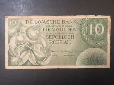 1946 Indonesia Paper Money - 10 Gulden Banknote!
