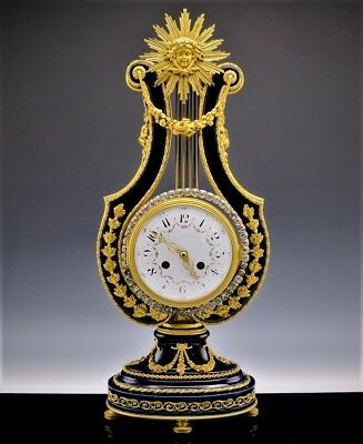 INCREDIBLE LARGE 19C FRENCH SEVRES GILT BRONZE LYRE MANTLE CLOCK w JEWELED BEZEL