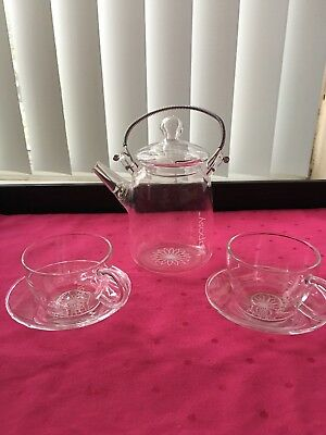 Glass Tea Set From Teaposy Teapot 2 Cups & Saucers