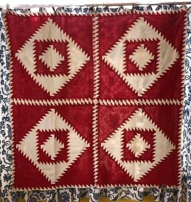 Red and White King Solomon's Temple Quilt Top