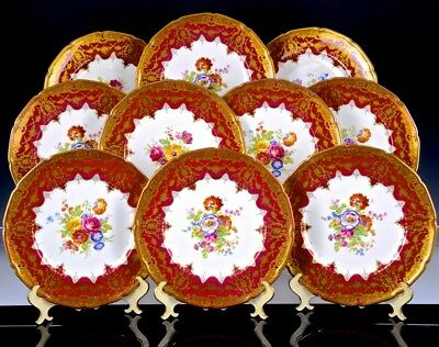 10 Incredible Royal Doulton Hand Painted Floral Raised Gold Enamel Dinner Plates