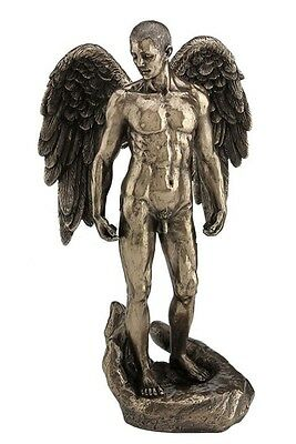 "13.25"" Winged Nude Male Standing on Open Palm Statue Sculpture Figure Decor Man"