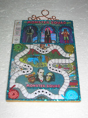 HALLOWEEN MONSTER SQUAD GAME~ GLITTER HALLOWEEN ORNAMENT * Vtg Img