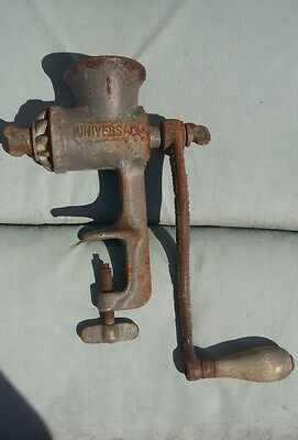 MEAT GRINDER: UNIVERSAL #1 HAND CRANK with clamp, rusty but works, VTG