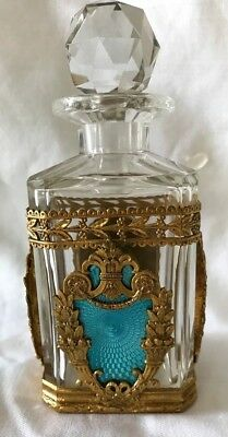 Antique French Bronze And Guilloche Crystal Perfume