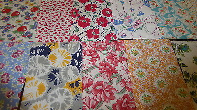 "Lot of 15 Vintage Feedsack Pcs. 4""-6""++Squares Quilt top blocks cotton fabric-S3"