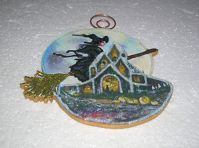 HAUNTED HOUSE, MOON & WITCH ON BROOM ~ GLITTER HALLOWEEN ORNAMENT * Vtg Img