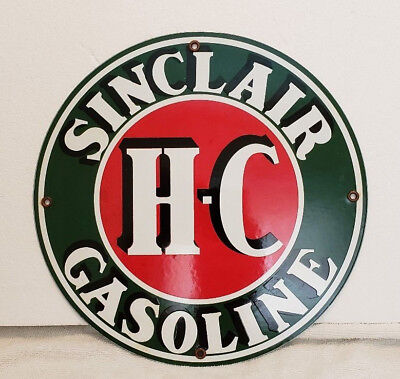 """Sinclair  Hc Porcelain Pump Plate Sign Gas Oil  11 3/4"""" Round (To11)"""