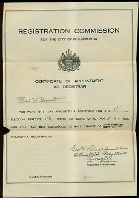 1923 Philadelphia Registration Commission Certificate of Appointment