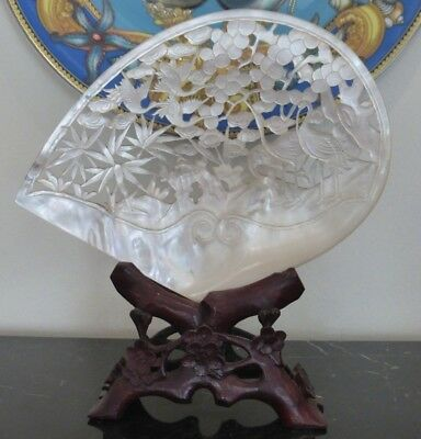 Antique Chinese Carved Mother Of Pearl Shell Cranes Scene On Stand