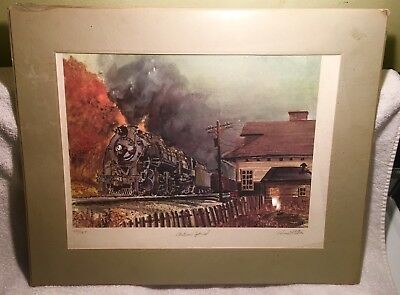 Autumn Special Signed & Numbered Railroad Train Matted Print, 14 X 10 In Plastic