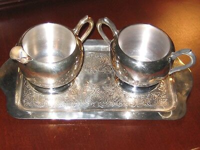 Silver Plated Tea Set F.b.rogers Creamer,sugar And Tray #1083 New