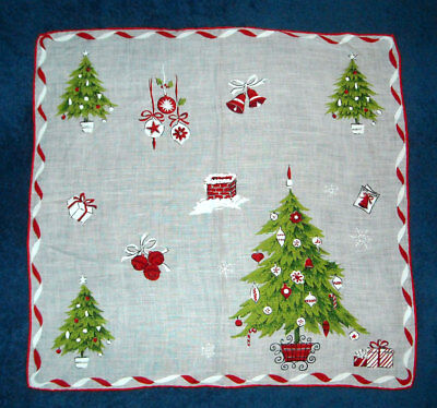 Vtg Christmas Holiday Hand Painted Hand Rolled Linen Hanky Handkerchief