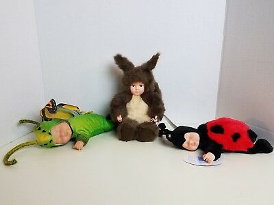 Anne Geddes Bean Filled Stuffed Plush Animal Lot Lady Bug Butterfly Squirrel EUC