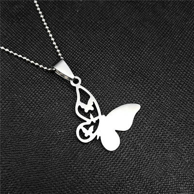 New Butterfly Silver 316L Stainless Steel Titanium Pendant Necklace W44