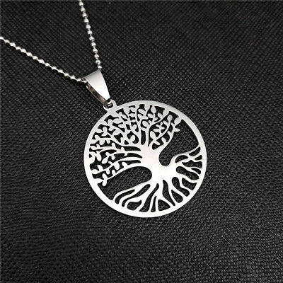 NEW Lucky Tree Silver 316L Stainless Steel Titanium Pendant Necklace W42