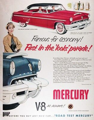 1953 MERCURY MONTEREY CUSTOM COUPE Genuine Vintage Advertisement ~ RARE CDN AD