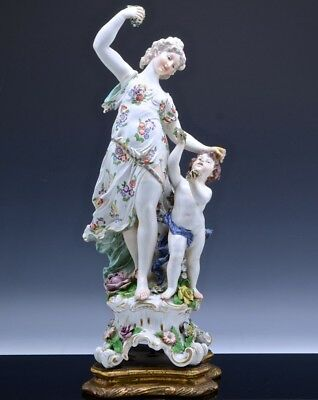 Gorgeous Very Large Antique Dresden Germany Porcelain Maiden & Boy Statue Figure