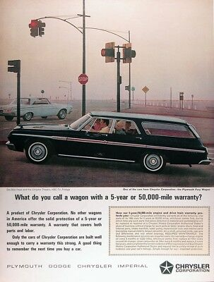 1964 PLYMOUTH FURY STATION WAGON Genuine Vintage Advertisement ~ 5 Year Warranty