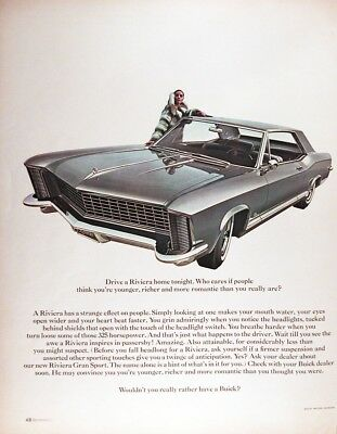 1965 BUICK RIVIERA Genuine Vintage Advertisement ~ 325hp