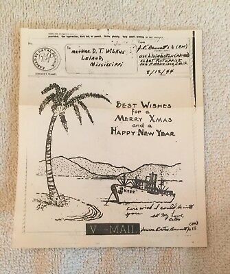 WWII Vmail Letter Art HAPPY NEW YEAR WW2 MERRY CHRISTMAS Artist Xmas