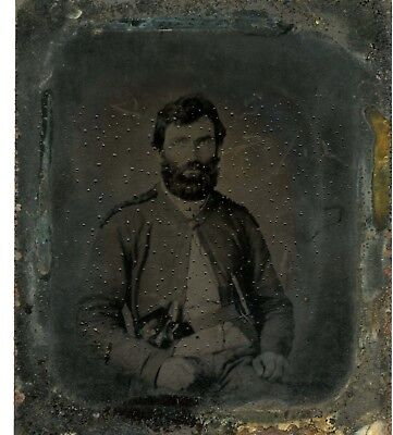 Confederate Tintype of a double armed North Carolina soldier
