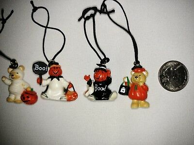 VINTAGE 80's LOT OF 4 MINI HOLIDAY HALLOWEEN ORNAMENTS