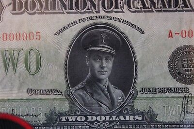 DC-26a 1923 Dominion of Canada $2 Dollar Serial #A-000005 BLACK SEAL Group 1