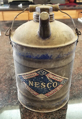 antique vintage 1 gallon Nesco gasoline can w/ wooden handle and both caps