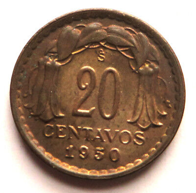 "Chile 20 Centavos 1950 Copper This coin is called: ""Chaucha"" KM#177 UNC"