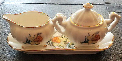 Vintage Royal Dover Bone China March Daffodil Sugar and Creamer Bowl with Plate