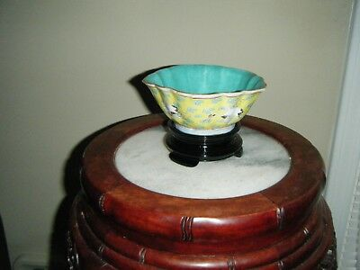 Chinese Porcelain Bowl Flying Cranes On Yellow Ground On Glass Stand, Riegn Mark