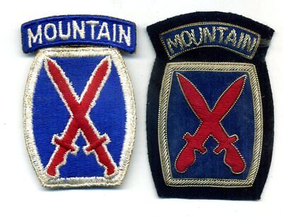 WW2 US Army 10th MOUNTAIN DIVISION Cotton SSI Patch w/ Silver Bullion Velour COP