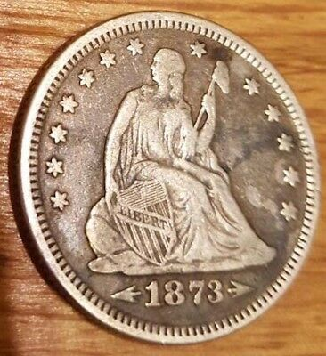 1873 25c seated liberty quarter with arrows