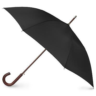 totes Totes Auto Open Wooden Handle J Stick Umbrella Umbrella, Black
