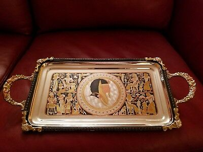 "Egyptian Brass Decorative Tray with Handles Gold and Silver 7 1/4"" x 16 1/4"""