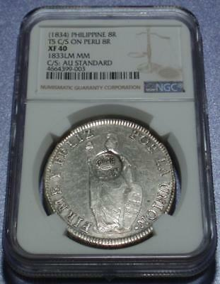 NGC Certified 1833 SPANISH PHILIPPINES Royal F•7•o COUNTERSTAMP on PERU 8 Reales