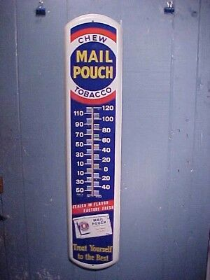 1950s MAIL POUCH TOBACCO 3' Metal Lithograph ADVERTISING Wall THERMOMETER