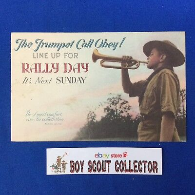 Boy Scout Vintage Post Card The Trumpet Call Obey ! Scout With Bugle