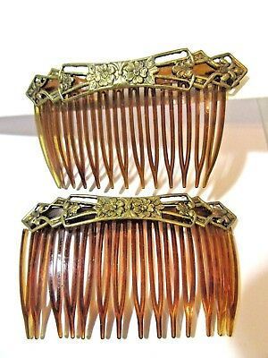 Pair Faux Tortoise Color Plastic Hair Combs With Fancy Brass Motif Usa Vintage