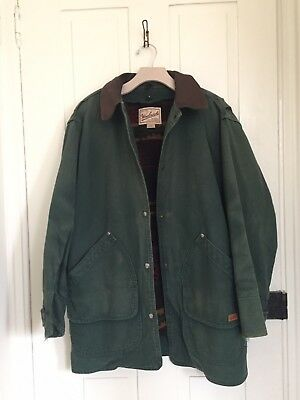 Vintage Woolrich Woman's Wool Blanket Lined Barn Chore Coat Green Med USA 🇺🇸