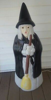 "Vintage Halloween Witch 39"" Blow Mold Lighted Holding Broom Empire"