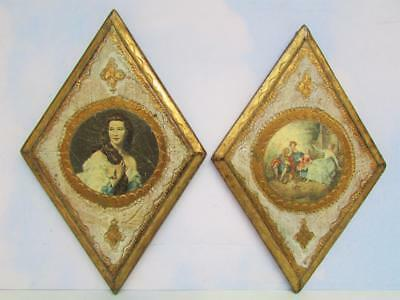 Two Florentine Diamond-Shaped Gold Gilded Picture Frames