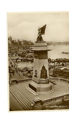 China 1920 Old Real Photo Postcard War Memorial ROAD Shanghai RPPC against Japan