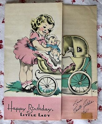 Vintage 1940s Birthday Greeting Card Cute Little Girl, Doll, Buggy Pram