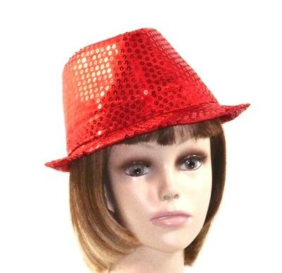 641cabab1ba Red Lightweight Full Sewn Sequin Fedora Trilby Hat Society Ladies