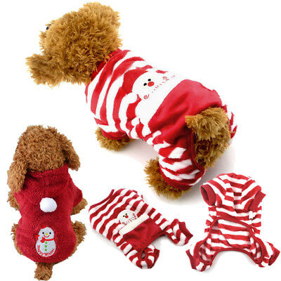 Santa Pet Dog Velvet Pajamas Striped Cat Jumpsuits Soft Puppy Christmas Clothes