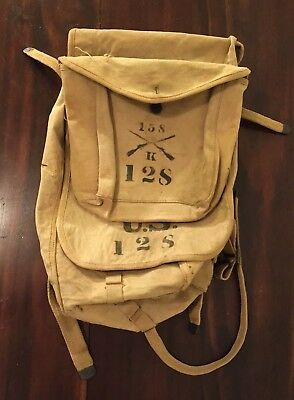 U. S. World War 1 Infantry Rucksack Backpack  Dates 1917 Marked w/ Division
